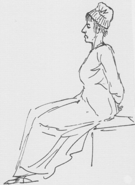 Cruel sketch of queen as she passed on the way to the guillotine, by the revolutionary artist David.